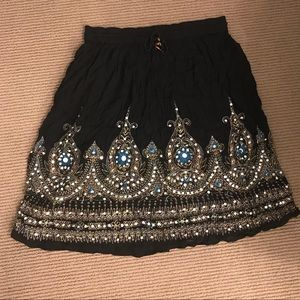 Dresses & Skirts - Black skirt with gorgeous exotic embroidery